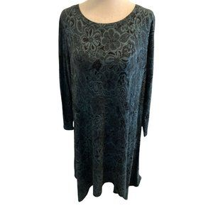 Cut Loose A-Line Knit Dress Size XLarge 3/4 Sleeves Navy And Green Made In USA